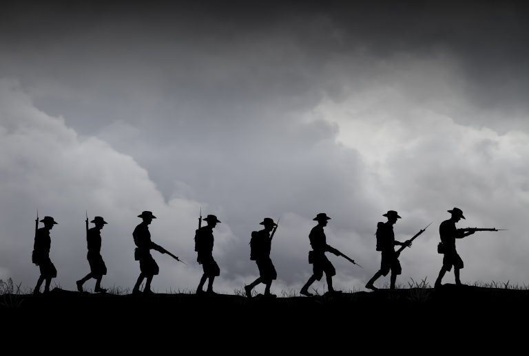 Marching ANZAC silhouettes in WWII